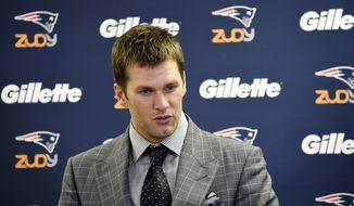 New England Patriots quarterback Tom Brady talks during a press conference following an NFL football game against the Pittsburgh Steelers on Sunday, Oct. 23, 2016, in Pittsburgh. New England won 27-16.(AP Photo/Don Wright)