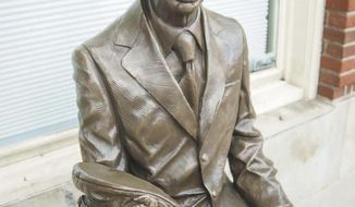 "A statue of Don Knotts sits on High Street in Morgantown, W.Va., date not known. Sculptor Jamie Lester created the statue. Knotts, a Morgantown native who died in 2006, is best known as the actor who portrayed deputy Barney Fife on ""The Andy Griffith Show"" during the 1960s, a role in which he won five Emmy awards, but this is not a statue of the hilarious deputy. It depicts the man, Don Knotts.(April Singleton/Times-West Virginian via AP )"