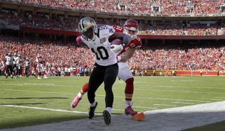 New Orleans Saints wide receiver Brandin Cooks (10) scores a touchdown in front of Kansas City Chiefs linebacker Frank Zombo (51) during the first half of an NFL football game in Kansas City, Mo., Sunday, Oct. 23, 2016. (AP Photo/Jeff Roberson)