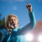Democratic presidential candidate Hillary Clinton acknowledges members of the audience while speaking at a rally at St. Anselm College in Manchester, N.H., Monday, Oct. 24, 2016. (AP Photo/Andrew Harnik)