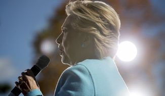 Democratic presidential candidate Hillary Clinton speaks at a rally at St. Anselm College in Manchester, N.H., Monday, Oct. 24, 2016. (AP Photo/Andrew Harnik)