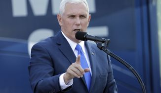 Republican vice presidential candidate, Indiana Gov. Mike Pence speaks at a campaign event at Catawba College in Salisbury, N.C., Monday, Oct. 24, 2016. (AP Photo/Chuck Burton)