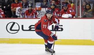 Washington Capitals right wing T.J. Oshie (77) skates with the puck during the second period of an NHL hockey game against the New York Rangers, Saturday, Oct. 22, 2016, in Washington. (AP Photo/Nick Wass) **FILE**