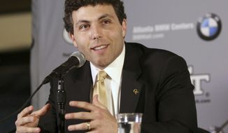FILE - In this April 8, 2016, file photo, Georgia Tech's newly appointed basketball head coach Josh Pastner talks at a news conference in Atlanta. Pastner is not accustomed to losing. He'll probably have to get used to it in his first season as Georgia Tech's coach. (Taylor Carpenter/Atlanta Journal-Constitution via AP, File)