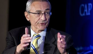 In this Nov. 19, 2014 file photo, John Podesta speaks in Washington. Poring through tranches of private, stolen emails from Hillary Clintons campaign is fast becoming a grinding daily ritual in Washington. As of Tuesday, Oct. 25, 2016, the WikiLeaks organization has published more than 31,000 emails from the accounts of John Podesta, chairman of Clintons presidential campaign.  (AP Photo/Manuel Balce Ceneta, File)