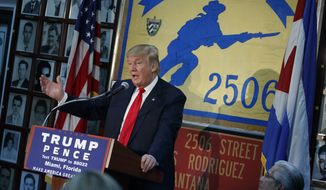 Republican presidential candidate Donald Trump speaks to the Bay of Pigs Veterans Association, Tuesday, Oct. 25, 2016, in Miami. (AP Photo/ Evan Vucci)