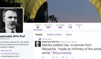 "Michael Rectenwald, a clinical assistant professor of liberal studies at New York University, created an undercover Twitter account so he could blast political correctness and campus ""safe space"" culture without fear of reprisal from students or ""social justice warriors."" (Twitter/@antipcnyuprof)"