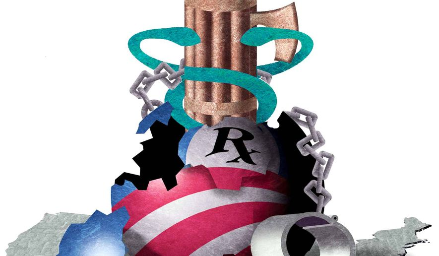 Illustration on the goals of Obamacare by Alexander Hunter/The Washington Times