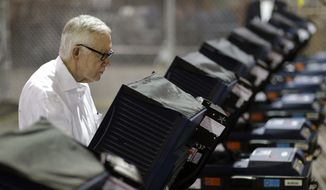 Senate Minority Leader Harry Reid of Nev., votes at an early voting site Wednesday, Oct. 26, 2016, in Las Vegas. When Sen. Harry Reid cast the last vote hell make as a U.S. Senator, he did it in a Las Vegas Strip early voting site surrounded by casino workers in the Culinary Union.  (AP Photo/John Locher)