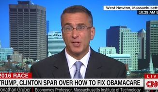 "MIT economics professor Jonathan Gruber told CNN on Wednesday, Oct. 26, 2016, that Obamacare is working ""as designed."" His commentary comes just days after the Obama administration announced premium health care premium hikes up to 25 percent in 2017. (CNN screenshot)"