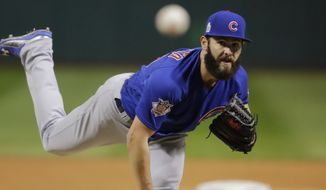 Chicago Cubs starting pitcher Jake Arrieta carried a no-hitter into the sixth inning, briefly invoking Don Larsen's name, before the Indians touched him for two hits and a run. (Associated Press)