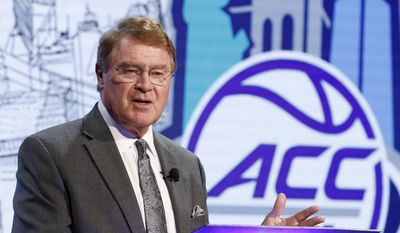 ACC Commissioner John Swofford answers a question during the Atlantic Coast Conference NCAA college basketball media day in Charlotte, N.C., Wednesday, Oct., 26, 2016. (AP Photo/Bob Leverone)