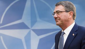 U.S. Secretary of Defence, Ash Carter, arrives for a meeting of the North Atlantic Council Defence Ministers session at NATO headquarters in Brussels, Wednesday, Oct. 26, 2016. NATO defence ministers are meeting in Brussels to discuss tense relations with Russia, how to help Middle East nations combat extremism and cooperation between the military alliance and the European Union. (AP Photo/Geert Vanden Wijngaert)