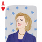 Hillary Clinton as the Ace of Hearts in NARAL Pro-Choice America's Gender Cards deck of playing cards. Image via artist Andrea Sparacio's professional website: http://artsparrow.com/portfolio_page/naral-gender-cards/