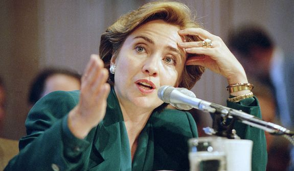 First Lady Hillary Clinton testifies before the Senate Finance Committee, which was holding hearings on health care reform, on Sept. 30, 1993. (Associated Press)