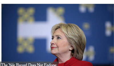 Screen capture of The Yale Record's non-endorsement endorsement of Hillary Clinton for president, published on Oct. 26, 2016.