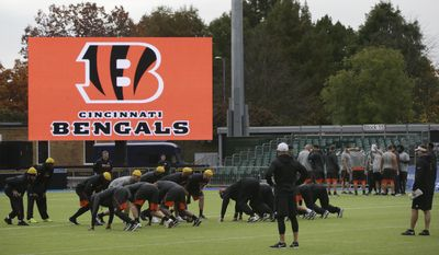 Cincinnati Bengals players take part in a practice session at Allianz Park in London, England, Friday Oct. 28, 2016. The Washington Redskins are due to play the Cincinnati Bengals at Wembley Stadium in London on Sunday in a regular season NFL game. (AP Photo/Tim Ireland)