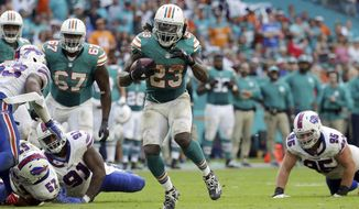 FILE - In this Oct. 23, 2016, file photo, Miami Dolphins running back Jay Ajayi (23) runs the ball during the second half of an NFL football gam against the Buffalo Bills, in Miami Gardens, Fla. Ajayi offered to buy his blockers dinner after his first career 200-yard game, but they took a rain check, anticipating there will be more to celebrate later in the season. Given the way Ajayi and his offensive line are playing, they might be right. (AP Photo/Lynne Sladky, File)