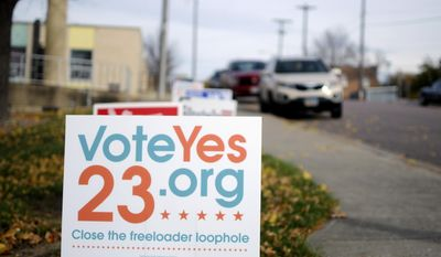 In this Friday, Oct. 28, 2016 photo, signs blow in the wind outside of the Labor Temple in Sioux Falls, S.D. New state campaign finance reports show that supporters of Initiated Measure 23, which would allow unions to charge fees to nonmembers, have brought in more than $620,000 since late May. (AP Photo/James Nord)