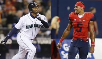 FILE - At left, in an Oct. 3, 2009, file photo, Seattle Mariners' Ken Griffey Jr. hits a solo home run against the Texas Rangers during the fourth inning of a baseball game in Seattle. At right, in a Sept. 10, 2016, file photo, Arizona wide receiver Trey Griffey (5) smiles during the first half of an NCAA college football game against Grambling State, in Tucson, Ariz.  While the World Series is ongoing, there are some former MLB players that may be paying more attention to college football. They are the fathers of players in Power Five Conferences.(AP Photo/File)