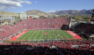 Utah's Rice-Eccles Stadium is shown in the first half during an NCAA college football game against Washington, Saturday, Oct. 29, 2016, in Salt Lake City. (AP Photo/Rick Bowmer)