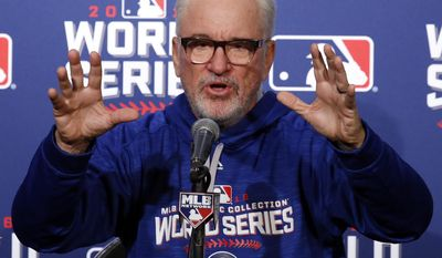 "FILE - In this Oct. 27, 2016 file photo, Chicago Cubs manager Joe Maddon answers a question during a news conference before Game 3 of the Major League Baseball World Series against the Cleveland Indians in Chicago. Maddon has kept it positive for his team amid all the pressure attached to a World Series championship drought that stands at 108 years. His quirky sayings and efforts to keep things loose are admired by managers and business experts. Northwestern's business school is even teaching some of his techniques as a ""value-based leader.""(AP Photo/Nam Y. Huh, File)"