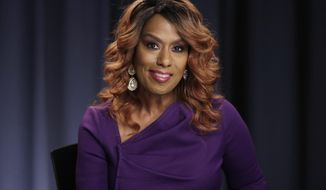 """In this Oct. 7, 2016 photo, actress and singer Jennifer Holliday, currently performing in the Broadway musical, """"The Color Purple,"""" appears during an interview in New York. (AP Photo/Richard Drew)"""