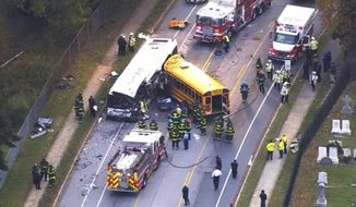 In this frame from video, emergency personnel work at the scene of a fatal school bus and a commuter bus crash in Baltimore, Tuesday, Nov. 1, 2016. (WBAL-TV via AP) ** FILE **