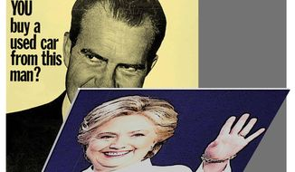 Illustration on the similarities of Nixon and Clinton by Alexander Hunter/The Washington Times