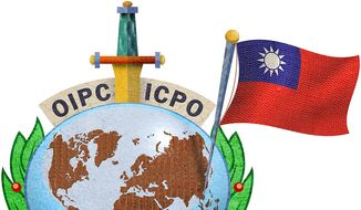 Illustration on increasing Taiwan's connection to INTERPOL by Greg Groesch/The Washington Times