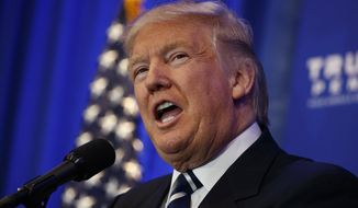 Republican presidential candidate Donald Trump speaks in King of Prussia, Pa., Tuesday, Nov. 1, 2016. Neither Trump nor Hillary Clinton talks much anymore about why they're the best choice for president. Instead in the campaign's last days, they're focused on casting each other as a catastrophic choice. (AP Photo/ Evan Vucci)