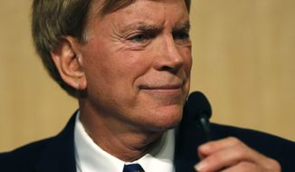 U.S. Senatorial candidate, former Klansman David Duke, waits for the start of a debate for Louisiana candidates for the U.S. Senate, at Dillard University in New Orleans, Wednesday, Nov. 2, 2016. (AP Photo/Gerald Herbert)