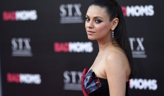 """FILE - In this July 26, 2016 file photo, Mila Kunis, a cast member in """"Bad Moms,"""" poses at the premiere of the film at the Mann Village Theatre in Los Angeles. Kunis says in a new essay that anytime she experiences gender bias at work, she's going to speak up about it. The 33-year-old actress-producer says in the essay published Thursday, Nov. 3, 2016, that women have been conditioned to believe that their livelihoods might be threatened if they speak out against sexist behavior. (Photo by Chris Pizzello/Invision/AP, File)"""