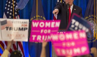 Republican presidential candidate Donald Trump acknowledges supporters during a campaign rally Friday, Nov. 4, 2016, in Atkinson, N.H. (AP Photo/Jim Cole)