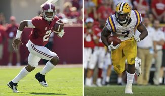 FILE - At left, in a Sept. 24, 2016, file photo, Alabama quarterback Jalen Hurts runs the ball during an NCAA college football game against Kent State, in Tuscaloosa, Ala. At right, in a Sept. 3, 2016, file photo, LSU's Leonard Fournette (7) runs during an NCAA college football game against Wisconsin, in Green Bay, Wis. Publicly, LSU running back Leonard Fournette has been largely silent about the perceived score he and the No. 15 Tigers have to settle with top-ranked Alabama. (AP Photo/File)