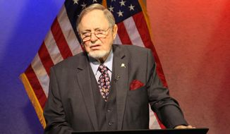 U.S. Rep. Don Young, R-Alaska, left, waits for a televised debate to begin on Alaska public television on Thursday, Nov. 3, 2016, in Anchorage, Alaska. Young, 83, is the longest serving Republican in the U.S. House and is seeking a 23rd term. (AP Photo/Mark Thiessen)