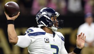 FILE - In this Oct. 30, 2016, file photo, Seattle Seahawks quarterback Russell Wilson (3) passes in the first half of an NFL football game against the New Orleans Saints in New Orleans. Since 2012 when Wilson landed in Seattle, the Seahawks are a combined 28-6 over the final two months of the regular season. (AP Photo/Bill Feig, File)