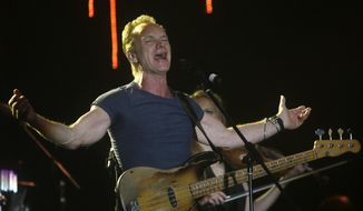 In this March 5, 2016, file photo, musician Sting performs during a concert at the Java Jazz Festival in Jakarta, Indonesia. Sting is to perform on Nov. 12 at the first concert at the Bataclan theater in Paris since it was targeted in Islamic State attacks a year ago that killed 130 people. (AP Photo/Tatan Syuflana, File)