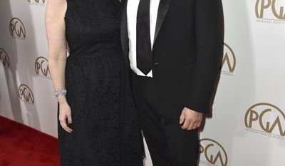 FILE - In this Jan. 23, 2016 file photo released by Producers Guild of America, PGA Chairs Jennifer Todd, left, and Michael De Luca arrive at the 27th annual Producers Guild Awards in Los Angeles. The duo will produce the 89th Academy Awards on Feb. 26, 2017. (Jordan Strauss/Producers Guild of America via AP )