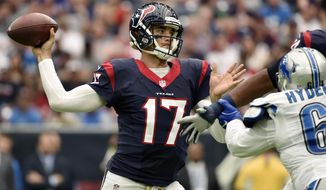 FILE - In this Oct. 30, 2016, file photo, Houston Texans' Brock Osweiler (17) throws against the Detroit Lions during the first half of an NFL football game in Houston. Osweiler was supposed to be the solution to years of quarterback woes for the Texans. (AP Photo/Eric Christian Smith, File)