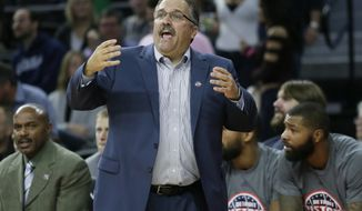 Detroit Pistons coach Stan Van Gundy shouts instructions to his team during the second half of an NBA basketball game against the Denver Nuggets Saturday, Nov. 5, 2016, in Auburn Hills, Mich. The Pistons defeated the Nuggets 103-86. (AP Photo/Duane Burleson)