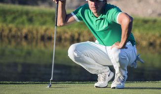 Brooks Koepka lines his putt on the 17th hole during the second round of the Shriners Hospitals for Children Open golf tournament Friday, Nov. 4, 2016, in Las Vegas. (Jeff Scheid/Las Vegas Review-Journal via AP)