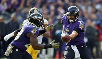 Baltimore Ravens quarterback Joe Flacco, right, hands off the ball to running back Terrance West in the first half of an NFL football game against the Pittsburgh Steelers, Sunday, Nov. 6, 2016, in Baltimore. (AP Photo/Gail Burton)