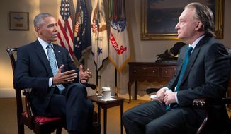 "In this Tuesday, Nov. 1, 2016 photo provided by HBO, host Bill Maher, right, speaks with his interview guest, President Barack Obama, left, during a taping of the television show ""Real Time with Bill Maher,"" at the White House in Washington. The show aired on HBO's ""Real Time"" Friday night, Nov. 4. Obama spoke with pride of his achievements during his two terms as chief executive, saying ""every single issue we've made progress on"" will be on the ballot next Tuesday in the form of the opposing candidates. (Amanda Lucidon/HBO via AP)"
