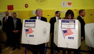 Republican presidential candidate Donald Trump and his wife, Melania, cast their votes on Tuesday at their precinct in New York. (Associated Press photographs)