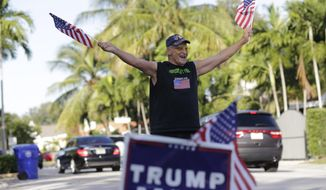 Peter Knapp, a supporter of Republican candidate Donald Trump, waves American flags as he stands outside his home on Election Day, Tuesday, Nov. 8, 2016, in Miami. (AP Photo/Lynne Sladky)