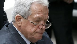 """FILE - In this April 27, 2016, file photo, former House Speaker Dennis Hastert departs the federal courthouse in Chicago. A judge has ruled that a lawsuit filed by a sexual abuse victim against Hastert can go forward. Kendall County Judge Robert Pilmer say in his ruling filed Monday Nov. 7, 2016, that the plaintiff established what was needed to allege """"a claim for contract."""" (AP Photo/Charles Rex Arbogast, File)"""