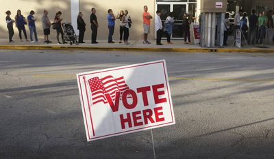 Voters line up at the Coral Ridge Mall,Tuesday, Nov. 8, 2016, at polling stations in Fort Lauderdale, Fla. (Joe Cavaretta/South Florida Sun-Sentinel via AP) ** FILE **