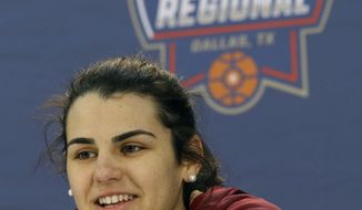 FILE - In this March 25, 2016, file photo, Florida State guard Leticia Romero speaks at a news conference ahead of the regional semifinals of the women's NCAA Tournament, in Dallas, Texas. Leticia Romero couldn't believe the celebrity status she achieved back home in the Canary Islands. That's what happens when you win a medal for Spain at the Olympics. Florida State's star is hoping for similiar success in her senior season with the Seminoles. (AP Photo/LM Otero, File)