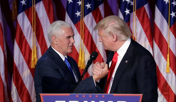Donald Trump and Mike Pence won the historic election of 2016. (Associated Press) ** FILE **